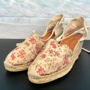 Andre Assous Canvas Embroidered Wedge Espadrilles